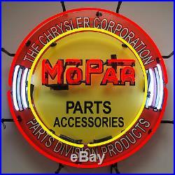 Mopar Parts & Accessories Neon Sign Chrysler Dodge Plymouth Hemi Dealer