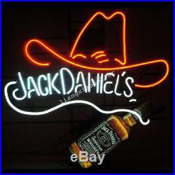 NEON SIGN Jack Daniels red Hat Real GLASS BEER BAR PUB LIGHT