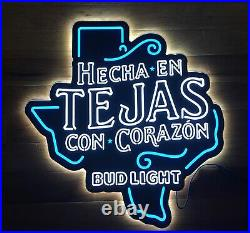 NEW Bud Light Beer TEJAS Hecha En Con Corazon Texas Shaped LED Neon Light Sign