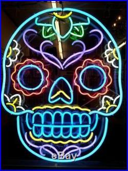 Neon Light Colorful Skull Beer Bar Decor Sign Pub Wall Display