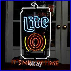 Neon Light Sign 24x20 It's Miller Time Miller Lite Beer Bar Artwork Decor Lamp
