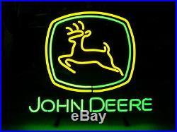Neon Sign JOHN DEERE Real Glass Tube Bar Club beer 17x14