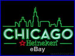 Neon Style CHICAGO Skyline Heineken BEER Sign LED Light-Up SIGN 31 x 18