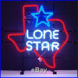 Neon sign Lone Star Flag Texas Pub Bar Beer Game room Man cave wall lamp light