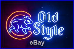 New 2016 Chicago Cubs World Series Champs Old Style Beer Neon Sign 22x16