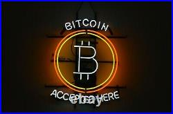 New Accepted Here Bitcoin Neon Sign 20x16 Real Glass Beer Bar Decor Artwork