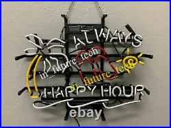 New Always Happy Hour Sun Palm Tree Neon Light Sign Lamp 17x14 Beer Bar