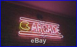 New Arcade Neon Light Sign 24x16 Lamp Poster Real Glass Beer Bar