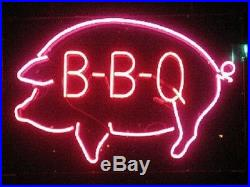 New BBQ Pig Chef Beer Wine Whiskey Bar Pub Light Lamp Neon Sign 17x14
