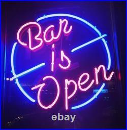 New Bar's Open Bar Beer Man Cave Neon Light Sign 17x14