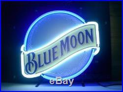 New Blue Moon Beer Neon Light Sign 17x14 Man Cave Lamp Artwork Glass Board Bar