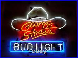 New Bud George Strait Hat Neon Light Sign 17x14 Beer Gift Bar Real Glass