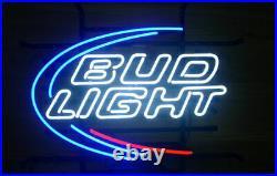 New Bud Light Beer Bar Neon Sign 17x14 Real Glass Decor Windows Open