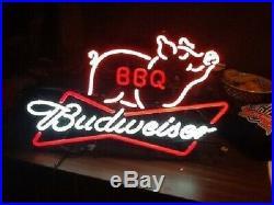 New Budweiser Bow Tie Pig BBQ Neon Light Sign 17x14 Beer Bar Man Cave Glass