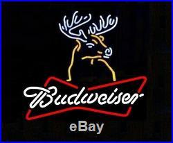 New Budweiser Bud Deer Bow Tie Glass Beer Neon Light Sign 20x16
