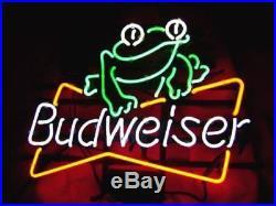 New Budweiser Bud Light Beer Frog Bar Neon Sign 17