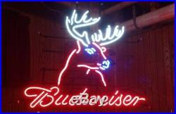 New Budweiser Deer Beer Bar Man Cave Neon Light Sign 17x14