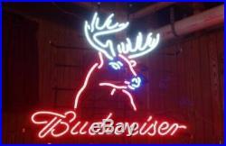 New Budweiser Deer Head Neon Light Sign 20x16 Beer Cave Gift Lamp Bar Glass