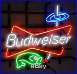 New Budweiser Fishing LIGHT Beer Bar Neon Light Sign 24x20