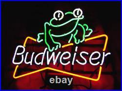 New Budweiser Frog Pub Beer Bar Man Cave Neon Light Sign 17x14