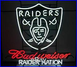 New Budweiser Oakland Raiders Nation NFL Beer Neon Light Sign 24x20
