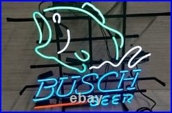 New Busch Beer Bass Fish Beer Bar Neon Sign 17x14 Real Glass Decor