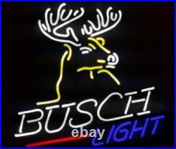New Busch Light Deer Lager Beer Bar Neon Sign 17x14 Real Glass Decor