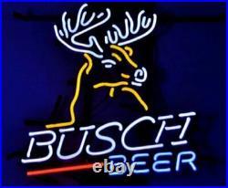 New Busch Light Deer Stag Beer Bar Neon Sign 17x14 Real Glass Decor