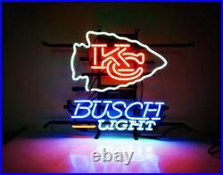 New Busch Light Kansas City Chiefs Beer Bar Neon Sign 20x16 Real Glass Decor