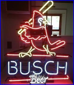 New Busch St Louis Cardinals Neon Light Sign 20x16 Beer Bar Man Cave