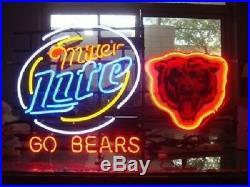 New Chicago Bears Go Bears Miller Lite Beer Bar Pub Neon Light Sign 24x20