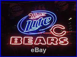 New Chicago Bears NFL Miller Lite Beer Man Cave Neon Sign 24x20