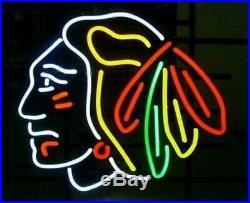 New Chicago Blackhawks Hockey Neon Light Sign 17x14 Beer Cave Gift Lamp