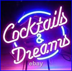 New Cocktails And Dreams Bar Beer Man Cave Neon Light Sign 20x16