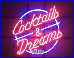 New Cocktails And Dreams Neon Light Sign 20x16 Beer Cave Gift Bar Real Glass