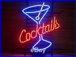 New Cocktails Martini Cup Beer Neon Sign 17x14
