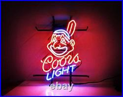 New Coors Light Cleveland Indians Neon Sign Beer Bar Pub Gift Light 17x14