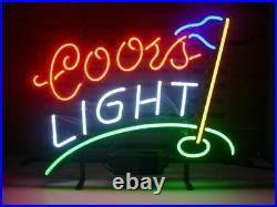 New Coors Light Golf Neon Sign 17x14 Beer Bar Cave Gift Real Glass Handmade