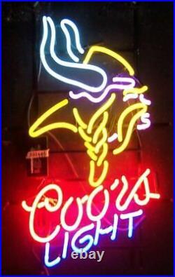 New Coors Minnesota Vikings Neon Light Sign 20x16 Beer Cave Gift Lamp Bar