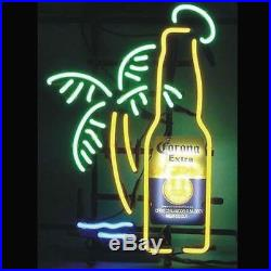 New Corona Extra Bottle Palm Tree Beer Man Cave Neon Light Sign 17x14