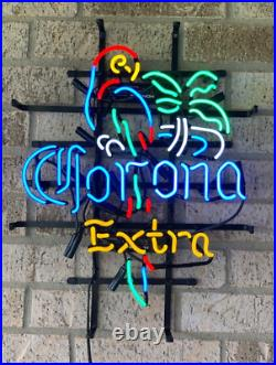New Corona Extra Parrot Palm Tree Neon Light Lamp Sign 20x16 Beer Glass Bar