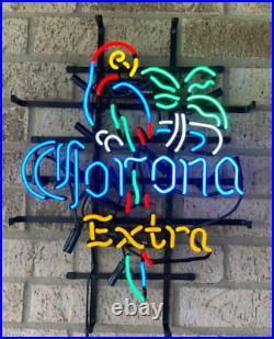 New Corona Extra Parrot Palm Tree Neon Light Sign 24x20 Lamp Decor Beer Bar