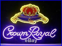 New Crown Royal Logo Bar Beer Man Cave Bar Neon Light Sign 20x16