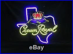 New Crown Royal Whiskey Texas Beer Bar Pub Light Lamp Neon Sign 24x20