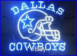 New Dallas Cowboys NFL Helmet Beer Texas Man Cave Neon Sign 24x20