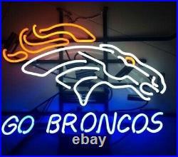 New Denver Broncos Go Neon Light Sign 17x14 Real Glass Bar Beer Arcade
