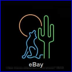 New Desert Wolf Cactus Coyote Neon Light Sign Lamp 17x14 Beer Cave Gift Glass