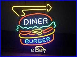 New Diner Burger Beer Bar Restaurant Hamburger Shop Neon Sign 20x16
