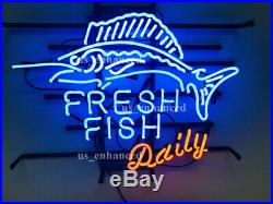 New Fresh Fish Daily Real Glass Beer Bar Neon Light Sign 20x16