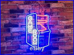 New Game Room Arcade Neon Light Sign 20x16 Beer Cave Gift Bar Real Glass